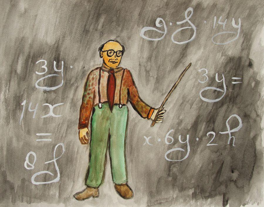 Leraar met aanwijsstok temidden van zwierige formules.