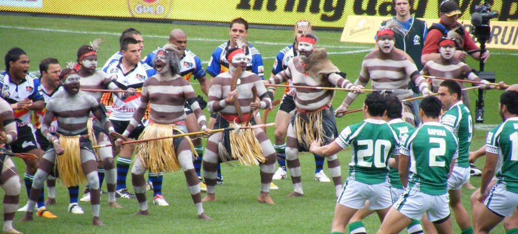 De hakadans van de Nieuwzeelandse Maori op het rugbyveld