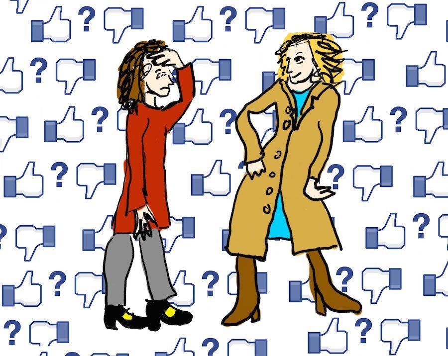 Tekening: Vrouw showt jas aan vriendin