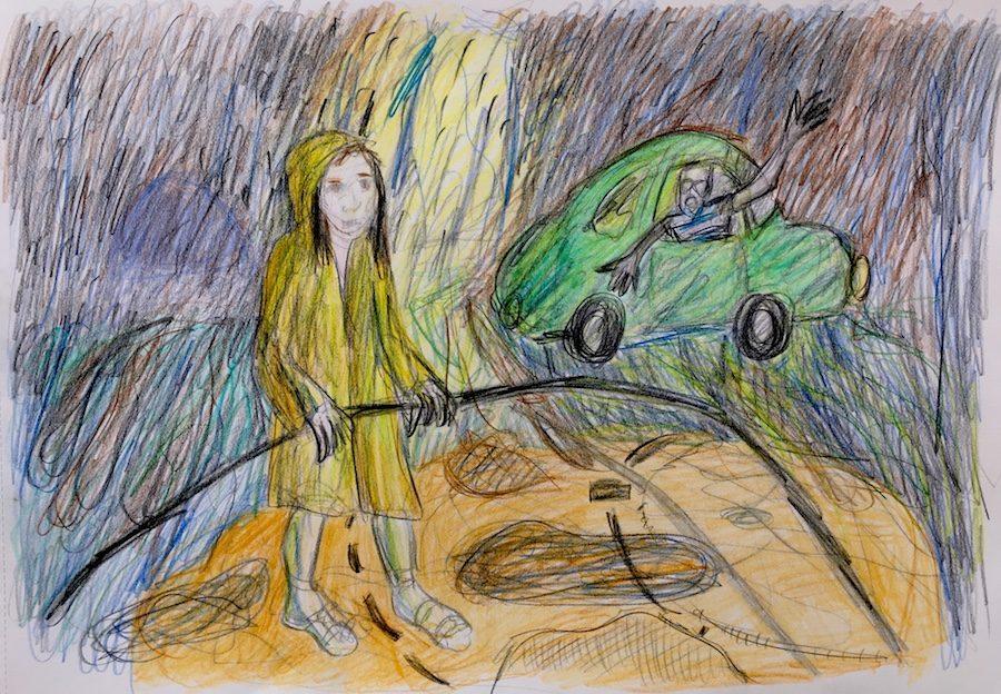 Vrouw met verwilderde blik in noodweer. Tekening