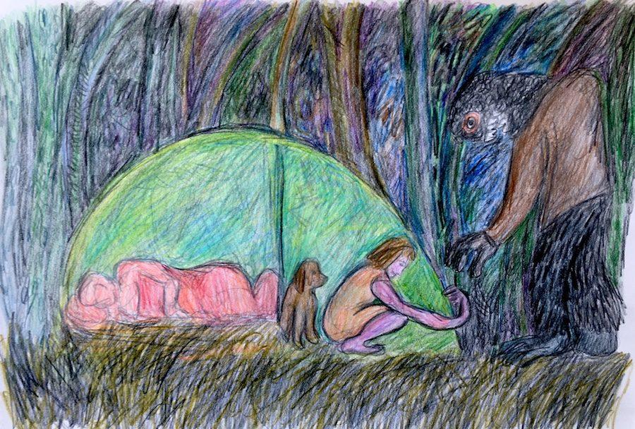 Campingmonster belaagt vrouw die de rits van de tent sluit